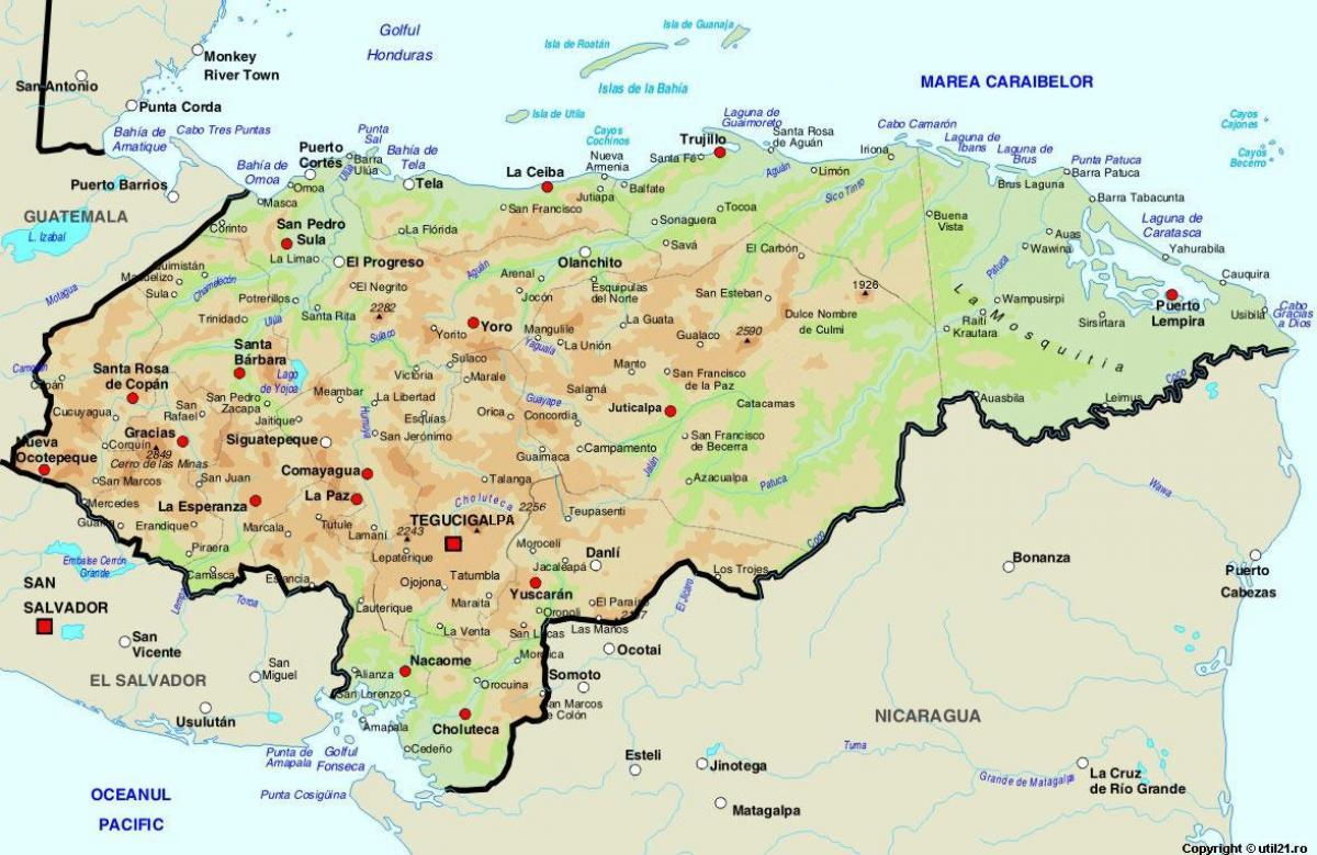Honduras Orszag Terkep Terkep Honduras Valamint A Kornyezo